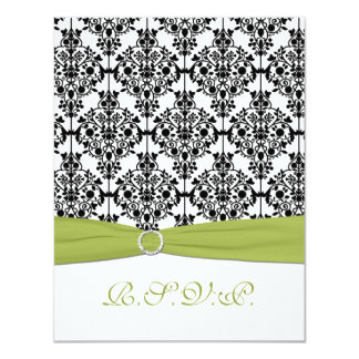 "Green, White, and Black Damask II RSVP Card 4.25"" X 5.5"" Invitation Card"