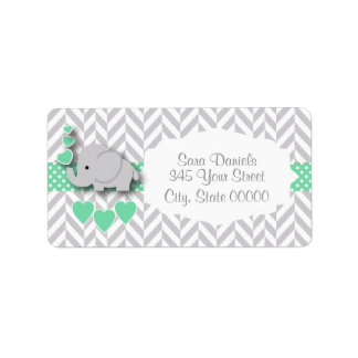Green, White and Gray Elephant Baby Shower Label