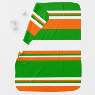 Green, White and Orange Stripes Baby Blanket