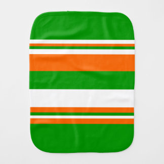 Green, White and Orange Stripes Burp Cloth