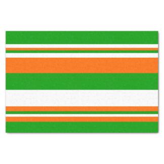 Green, White and Orange Stripes Tissue Paper