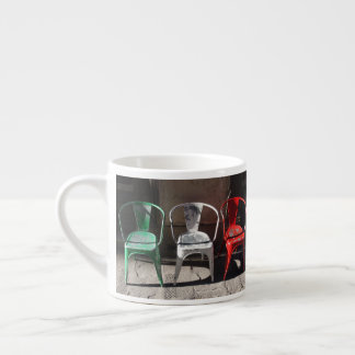 Green, White and Red : Italian Flag of Chairs Espresso Cup