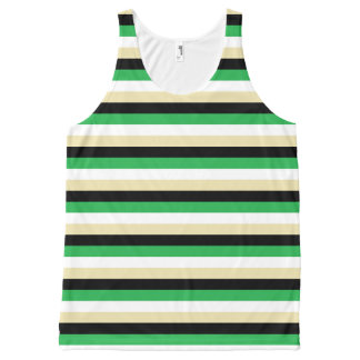 Green, White, Beige and Black Stripes All-Over-Print Tank Top