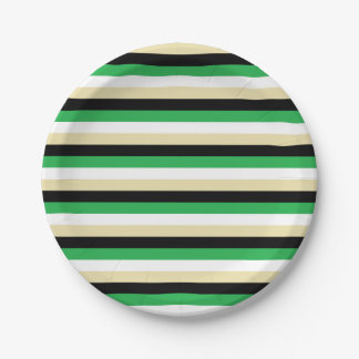 Green, White, Beige and Black Stripes Paper Plate