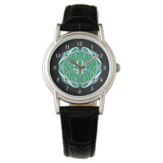 Green White Black Celtic Cross Watch