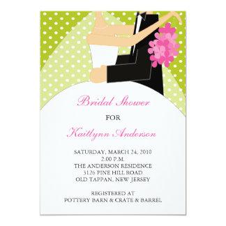 Green & White Bride Bridal Shower Invitation