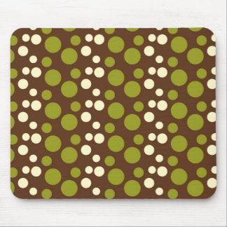 Green White Brown Polka Dots Pattern Mouse Pad