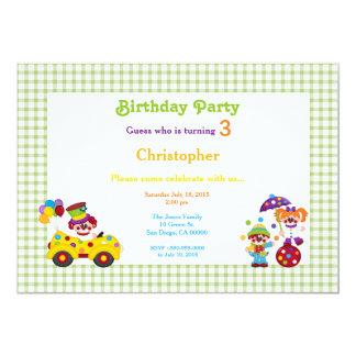 Green & White Check Clown Birthday Invitation