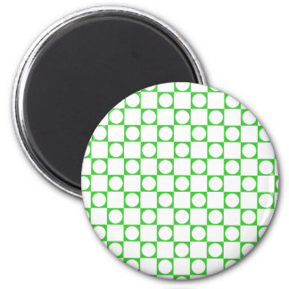 Green & White, Checkers & Circles 2 Inch Round Magnet
