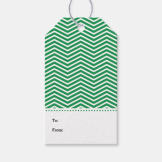 Green White Chevron Modern Gift Tags