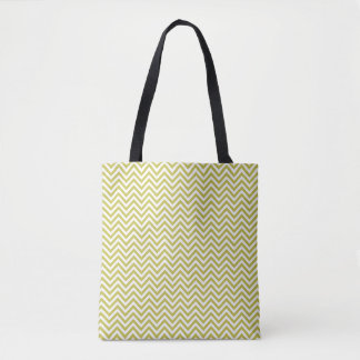 Green/White Chevrons Patterned Tote Bag