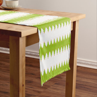 Green White Christmas Tree Pattern Short Table Runner