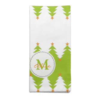 Green White Christmas Tree Pattern with Monogram Napkin