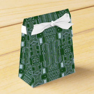 Green White Computer Circuit Board Lines Wedding Favor Box