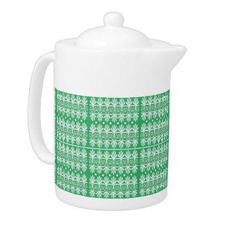 Green, White Cottage Style Medium Teapot
