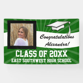 Green White Custom Photo Graduation Sign