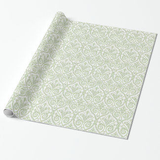 Green & White Damask Gift Wrap