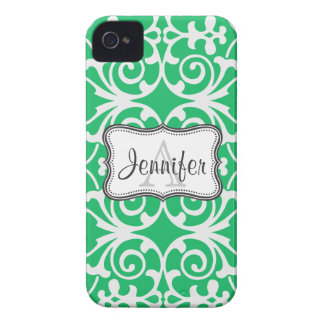 Green & White Damask Monogram iPhone 4/4s iPhone 4 Case-Mate Case