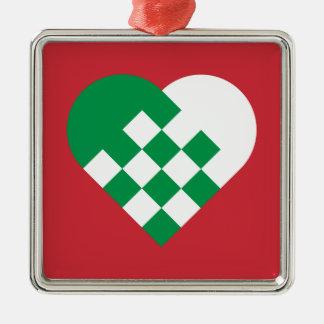 Green White Danish Heart Silver-Colored Square Ornament
