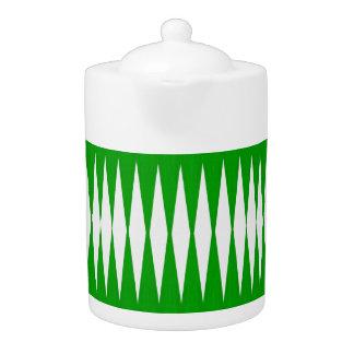 green/white Diamond print tea pot