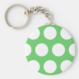 Green & White Dots Keychain