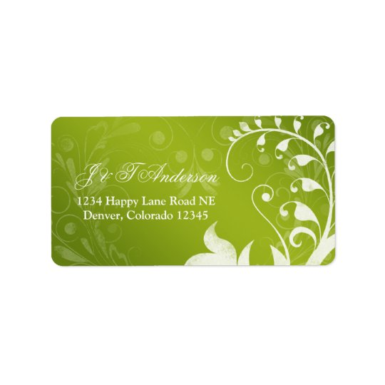 Green White Floral Wedding Address Label