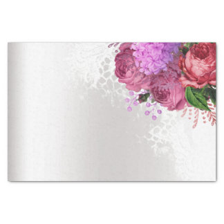Green White Flower Pink Peony Gray Silver Floral Tissue Paper