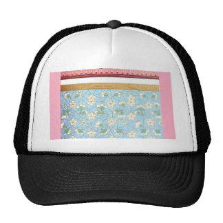 Green White Flowers Gold Pink Border Mesh Hats