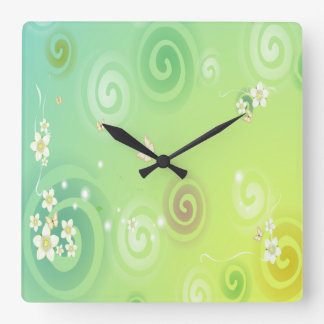 Green, White Flowers, White Butterflies Square Wall Clock