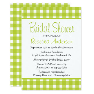 Green & White Gingham Bridal Shower Plaid Checks Card