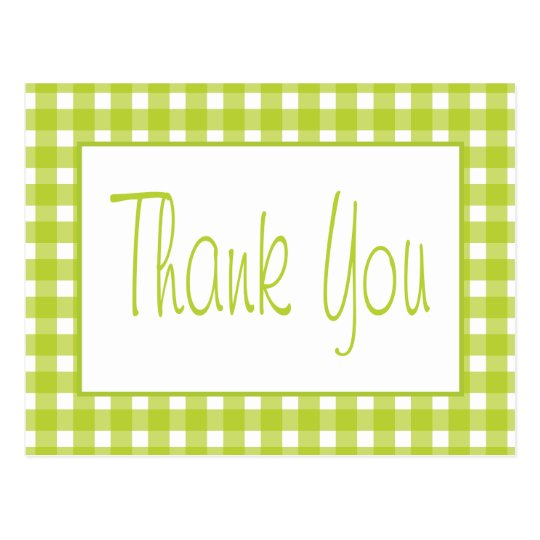 Green, White Gingham Plaid Thank You Wedding Party Postcard
