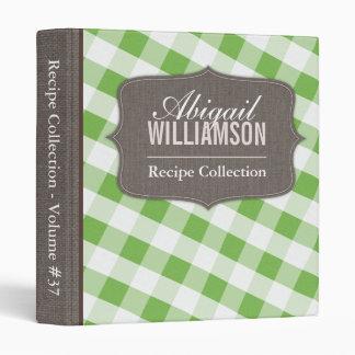 Green & White Gingham Southern Recipe Binder