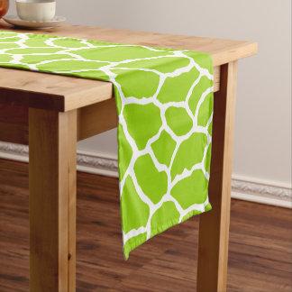 Green White Giraffe Skin Pattern Short Table Runner