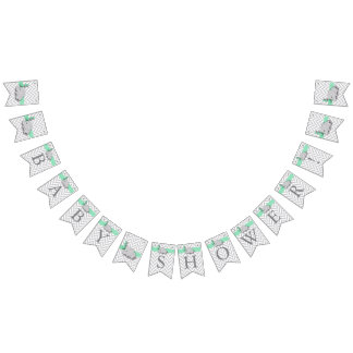 Green, White Gray Elephant Baby Shower Bunting Flags