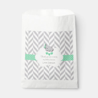 Green, White Gray Elephant Baby Shower Favour Bag