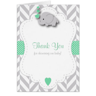 Green, White Gray Elephant Baby Shower Thank You Card