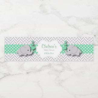 Green, White Gray Elephant Baby Shower Water Bottle Label