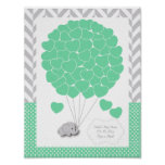 Green, White Grey Elephant Baby Shower  - Guest Poster