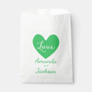 Green & White Heart Love Wedding, Bridal Shower Favour Bag