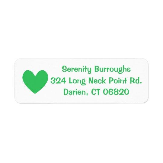 Green & White Heart Love  - Wedding, Bridal Shower Return Address Label