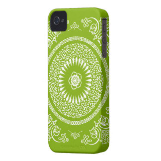Green & White Indian Mandala Inspired pattern iPhone 4 Cover