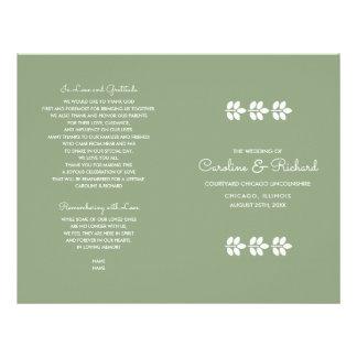 Green | White Leaf design Folded Wedding Programs