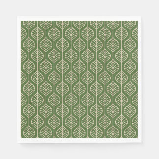 Green & White Leaves Woodland Leaf Nature Party Napkin