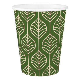 Green & White Leaves Woodland Leaf Nature Party Paper Cup