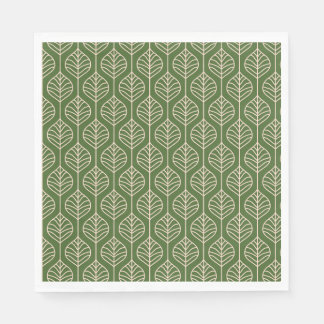 Green & White Leaves Woodland Leaf Nature Party Paper Napkin