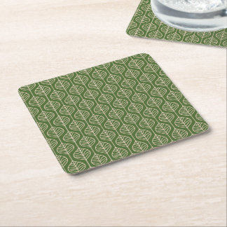 Green & White Leaves Woodland Leaf Nature Party Square Paper Coaster