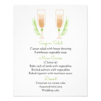 Green & White Menu Watercolor Champagne Glasses