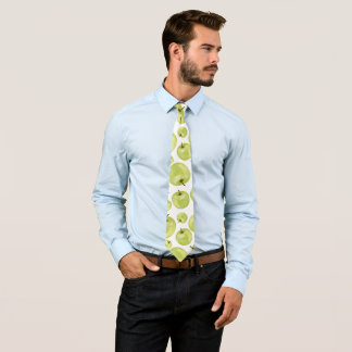 Green white mint apples watercolor fruits pattern tie