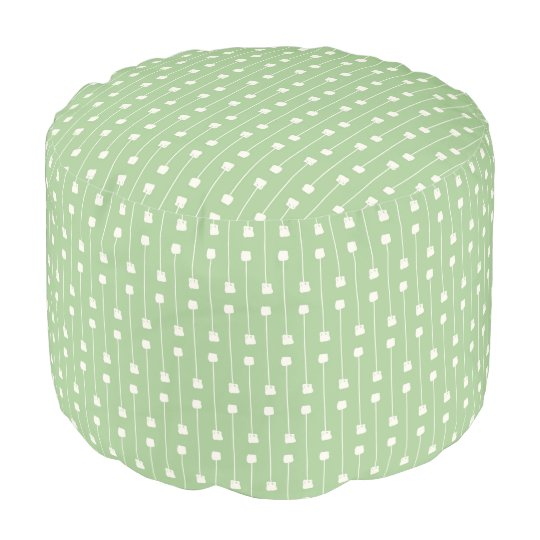 Green & White Modern Abstract Geometric Pattern Pouf