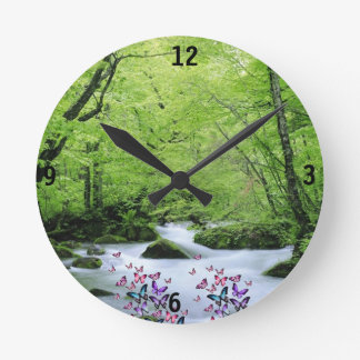 green white neture and butterflies round clock